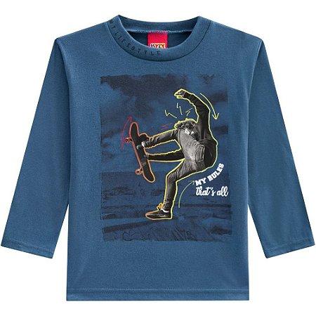 Kyly Camiseta Infantil Masculina Manga Longa 207.191 Cor Azul