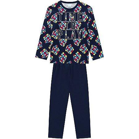 Kyly Pijama Inf Masc Ml 207.255 Cor Azul Marinho