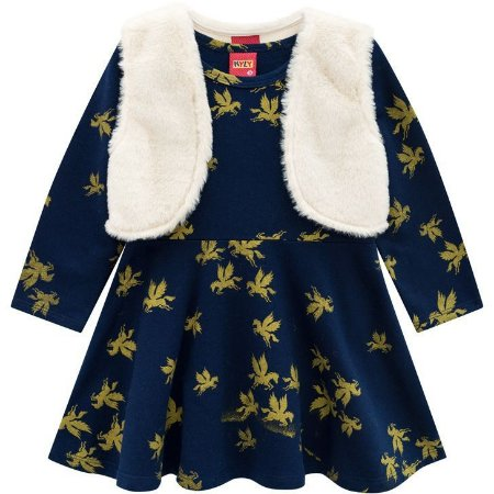Kyly Vestido Infantil Manga Longa 207.122 Cor Azul Marinho