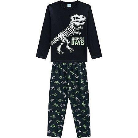 Kyly Pijama Inf Ml Masc 207.256 Cor Preto