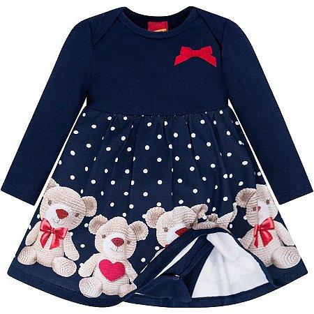 Kyly Vestido Infantil Feminino Malha Manga Longa 207.054 Cor Azul Marinho