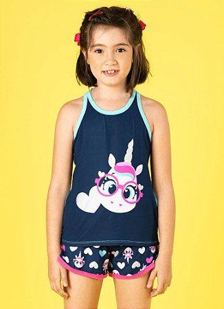 Puket Pijama Inf Femin 030401875 Cor Azul Marinho