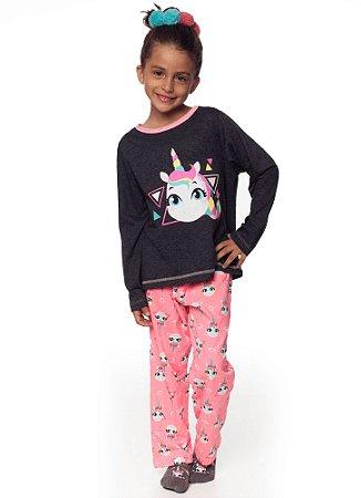 Puket Pijama Inf Fem Ml 030401917 Cor Cinza
