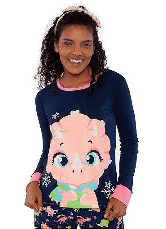 Puket Pijama Fem Ml 030602076 Cor Marinho