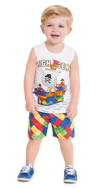 Kyly Conjunto Bermuda Infantil Masculino P109.710 Cor Branco