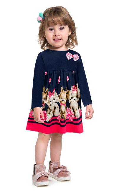 Kyly Vestido Infantil Feminino Malha Manga Longa 207341 Cor Azul Marinho