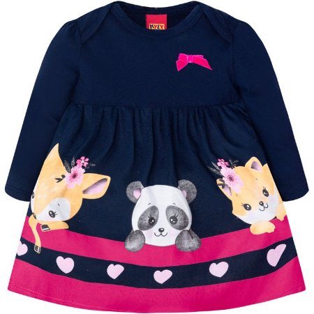 Kyly Vestido Infantil Manga Longa 207304 Cor Azul Marinho