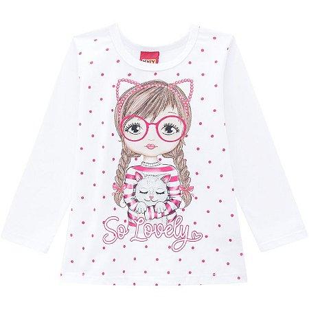 Kyly Blusa Infantil Feminina Manga Longa 207360 Cor Pink
