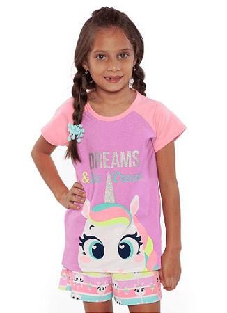 Puket Pijama Short Doll Manga Curta Teen Visco Unicornio 030501557