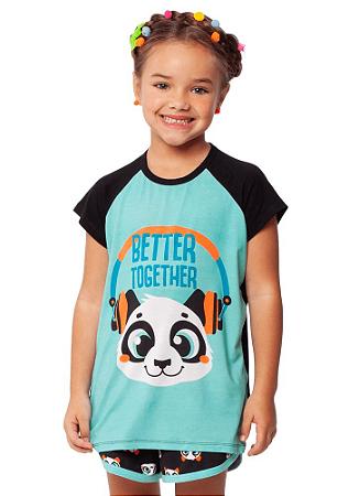 Puket Pijama Short Doll Manga Curta Visco Panda 030402055
