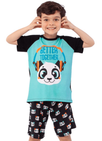 Puket Pijama Manga Curta Kids Visco Panda 030402056
