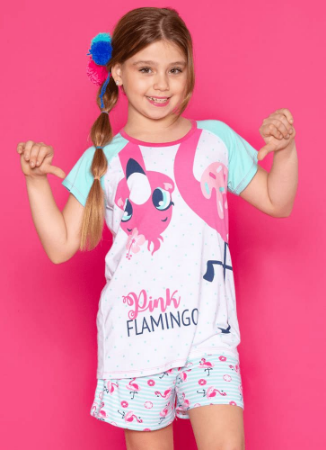 Puket Pijama Short Doll Manga Curta Visco Flamingo 030501363