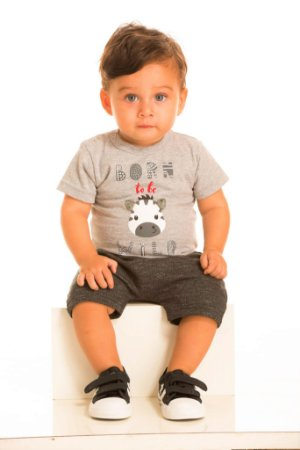 Conjunto Masculino Camiseta Zebrinha e Bermuda Saruel-8058