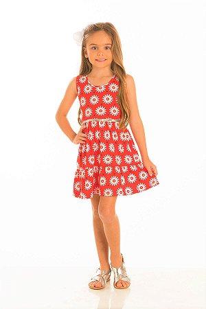 Vestido Estampa Margarida (acompanha cinto brilhante)-34207