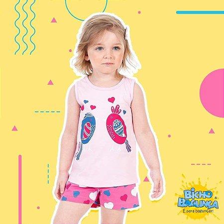 Pijama Feminino Regata e Shorts (Brilha no escuro)-9030