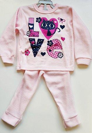 Pijama Soft Feminino-Produto somente com opção de cor (rosa ou lilás ou branco),  as estampas poderão ser diferentes da foto.-VS0001-