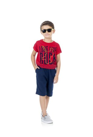 Conjunto Masculino Camiseta e Bermuda Moletinho-4048