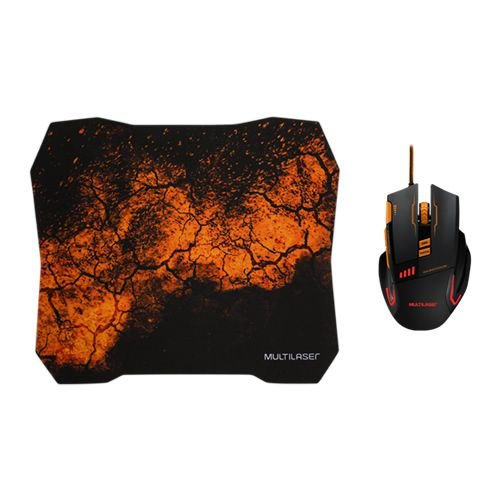 Mouse Gamer 3200DPI Combo Mouse Pad QuickFire Multilaser - MO256