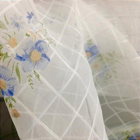 Voil Estampado 1,50m - Floral Azul