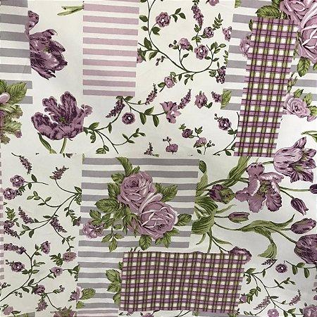 Tecido Cotton Estampado 100% Algodão - Patwork Lilás