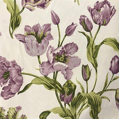 Tecido Cotton Estampado 100% Algodão - Floral Roxo