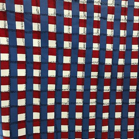 Tecido Cotton Estampado 100% Algodão - Xadrez Azul