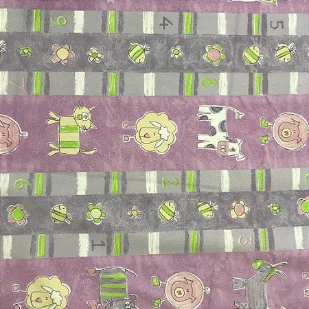 Tecido Cotton Estampado 100% Algodão - Infantil Lilas