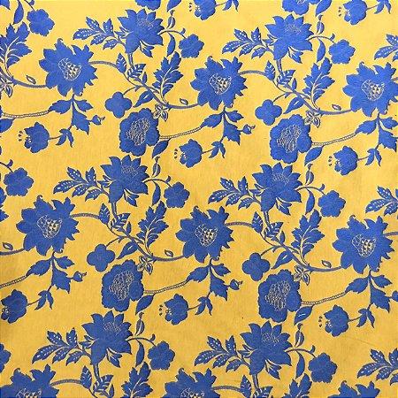 Jacquard Fio Tinto Istambu - Floral Azul