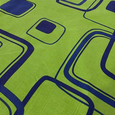 Linho Estampado - Geometrico Verde Limão