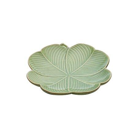 Prato de Cerâmica Banana Leaf Verde Lyor 27,5x26,5x5cm