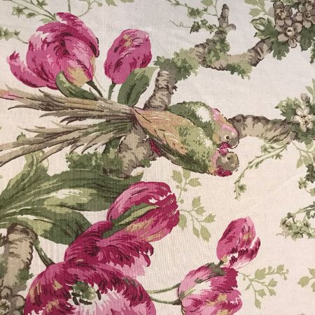 Tecido Pure Linem Estampado Passarinho Rosa - Fiama