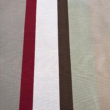 Tecido Panamá Listrado Cinza Vermelho Branco Marrom - Fiama