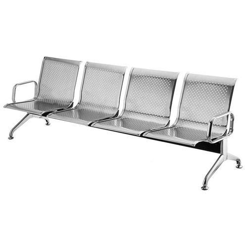 Cadeira Longarina Inox 4 Lugares Com Braços Externos - Rivatti