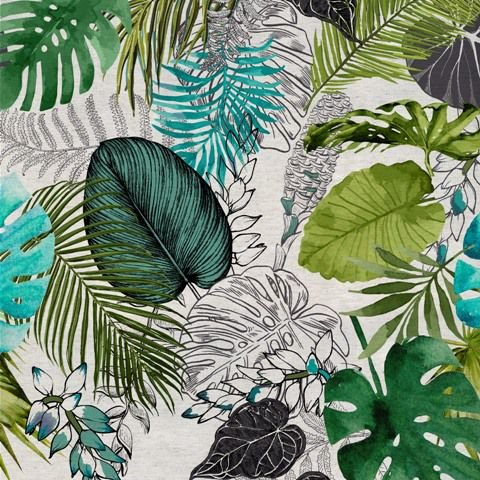 Garden linho 700978 Cor 005 Floral verde