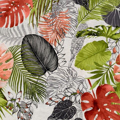 Garden linho 700978 Cor 004 Floral verde/vermelho