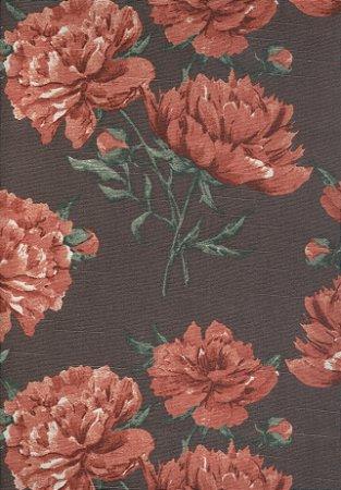 Linho Florata - Cor Floral Marrom