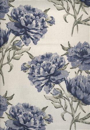 Linho Florata - Cor Floral Azul/Cru