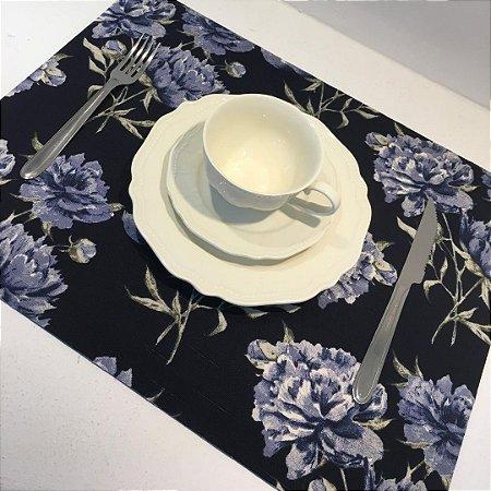 Sousplat Linho Florata Azul/Preto
