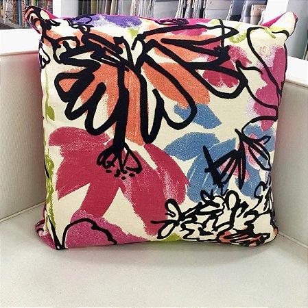 Almofada veludo rosa estampada - 50X50