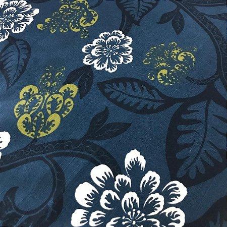 Linho Estampado 031924 - Arabesco Floral Azul 03