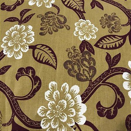 Linho Estampado 031924 - Arabesco Floral Bege Vinho 01