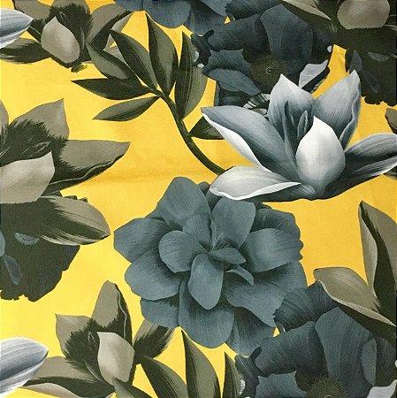 Soleil Digital - Floral Amarelo/Cinza