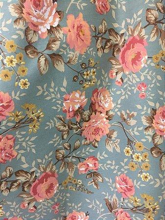 Linho Florata - Azul com Rosa 101855 - 02