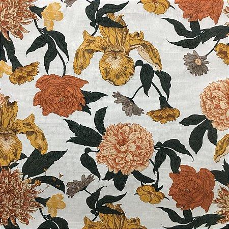 Linho Florata - Floral Verde/Amarelo
