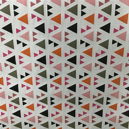Linho Florata - 003 Geometrico Verde/Rosa 062740