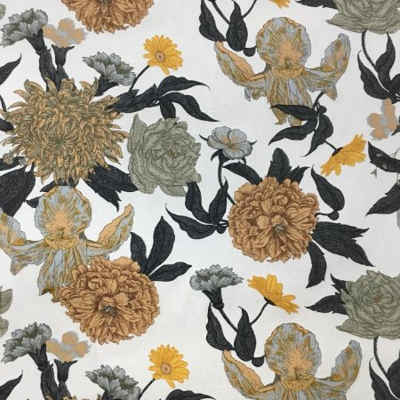 Linho Florata - 002 Floral Bege/Preto 092745