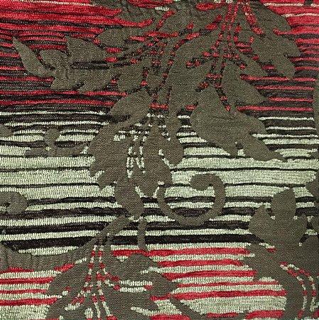 Tecido Futon Sabah Multicolor - Vermelho/Marrom