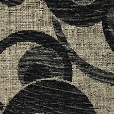 Tecido Futon Cardenas Bolado - Preto Fundo Linho