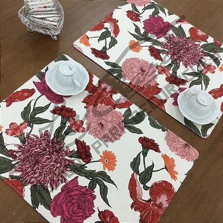 Sousplat Linho Florata - Floral Rosa