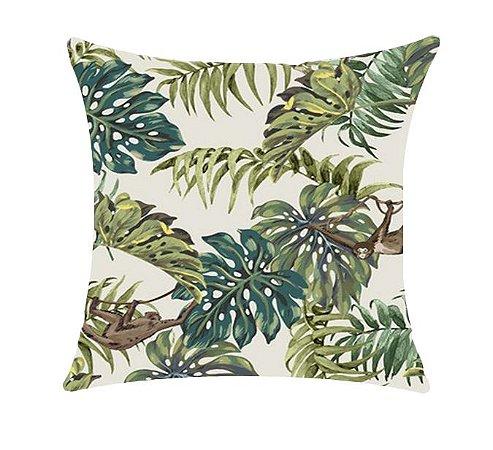 Almofada com Enchimento 50X50 - Garden Trancoso Floral Fauna Verde